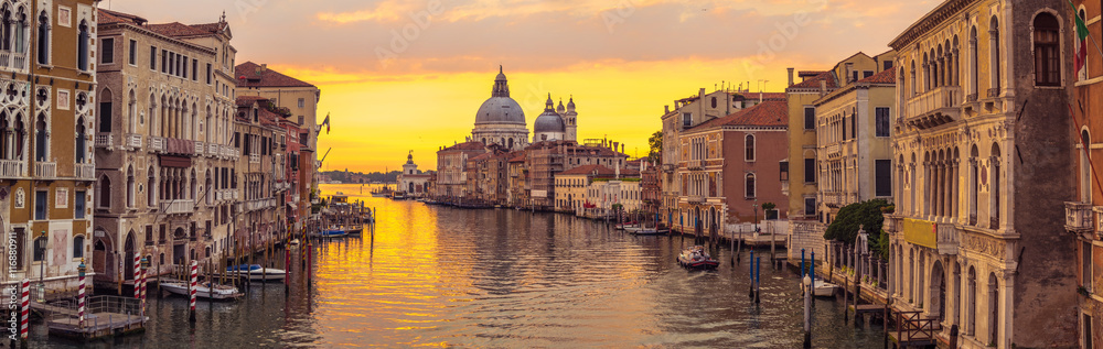 Fototapeta Venice city and canal with sunrise view panorama