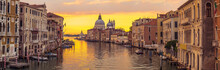 Venice City And Canal With Sun...