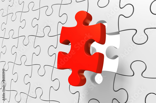 Fotografie, Obraz  Missing red puzzle piece being inserted to solve a complex challenge, 3D renderi