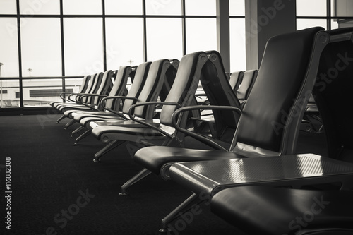 Fototapety, obrazy: Soft focus seat at airport lounge background.