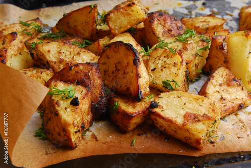 close up of the roasted potatos