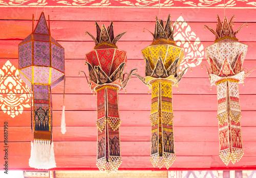 Fotografie, Obraz  fabric lamp traditional lanna style ,fabric craft lantern or Yi peng, Lanna styl