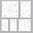 Set of artistic colorful universal cards. Wedding, anniversary, birthday, holiday, party. Design for poster, card, invitation. Memphis style