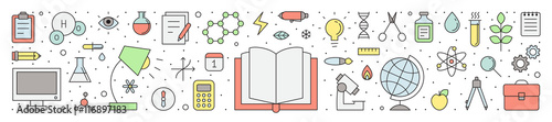 Education and science outline horizontal vector illustration.