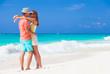 beautiful happy couple having fun at sunny beach