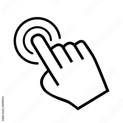 Fotografie, Obraz  large cursor hand icon on white background