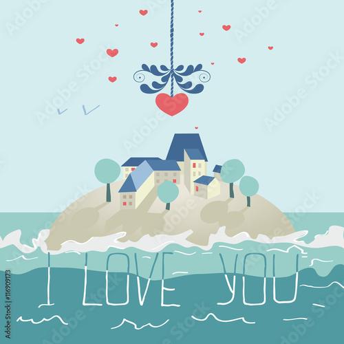 Keuken foto achterwand Lichtblauw Greeting card for Valentines day