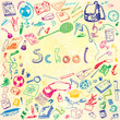 Doodle illustration of school objects. Colorful, watercolor background. Outlined illustration of design elements.