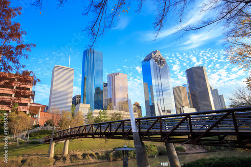 Poster Texas Houston Texas Skyline with modern skyscrapers and blue sky view