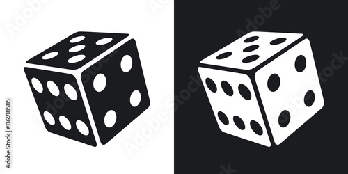 Leinwand Poster Vector dice icon. Two-tone version on black and white background