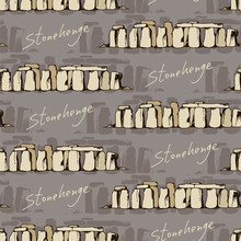 Seamless Travel Background With Drawing Of Stonehenge, England