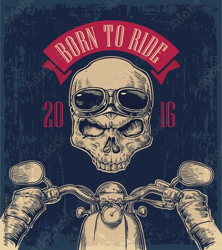 Biker driving a motorcycle rides and skull with glasses. Canvas Print
