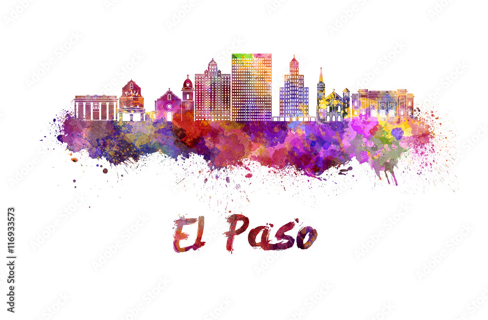Fototapety, obrazy: El Paso skyline in watercolor
