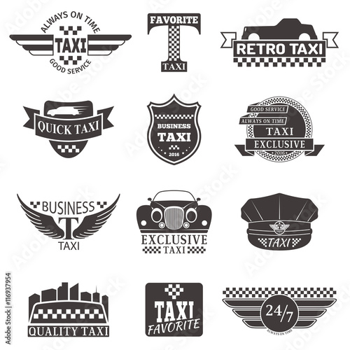 Set Of Vintage And Modern Taxi Logos Taxi Labels Taxi Badges And