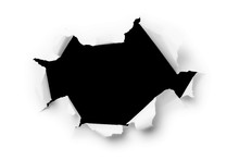 Computer Generated Image Of A Large Hole Torn Through Paper. Vec