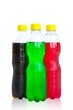 bottles with tasty drinks, isolate on white background