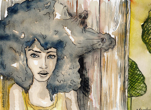 Poster Inspiration painterly watercolor portrait of a woman