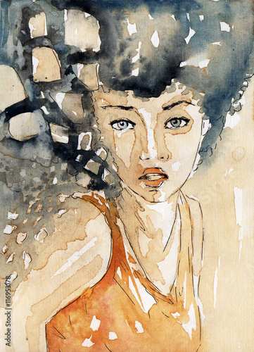Fototapety, obrazy: watercolor portrait of a woman