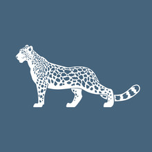 Snow Leopard Vector Illustrati...