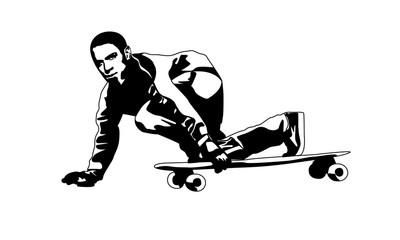 Panel Szklany Sport Парень на скейтборде черный