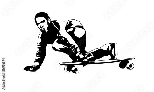 Парень на скейтборде черный - 116956376