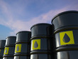 canvas print picture - crude oil barrels with yellow label