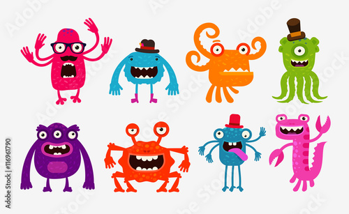 Cartoon monsters or bogeyman set. Vector illustration Canvas Print