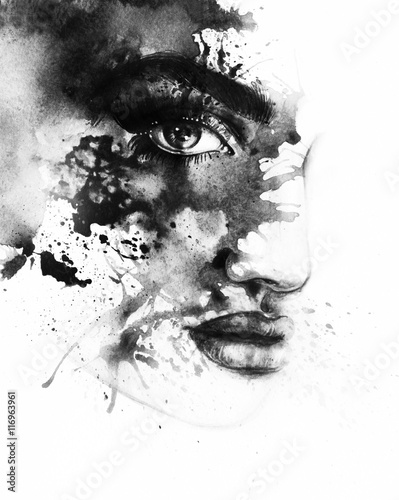 Poster Portrait Aquarelle Beautiful woman face. Abstract fashion watercolor illustration