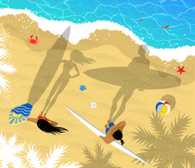 Top View Vector Illustration Of Surfers