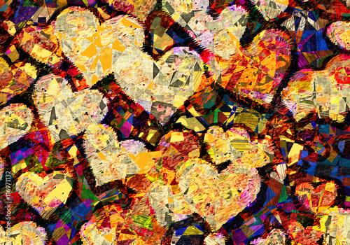 obraz w stylu patchworku wielu serc