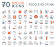 Set Vector Flat Line Icons Drinks and Food