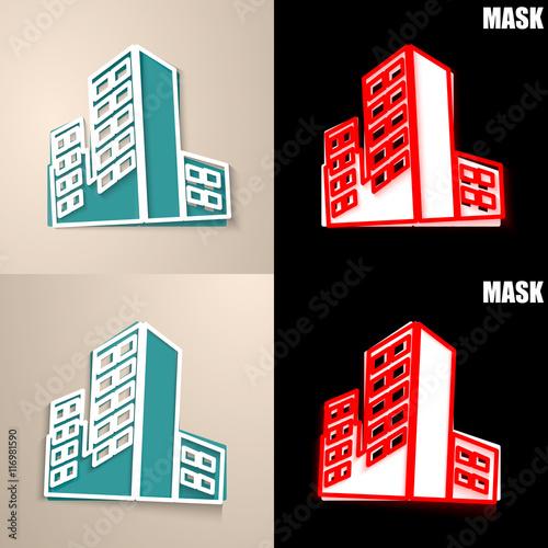 Obraz papierowa ikona z cieniem - fototapety do salonu