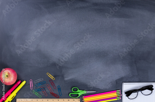 Student supplies on chalkboard Poster