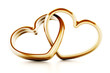 canvas print picture - Gold heart shaped rings attached to each other. 3D illustration