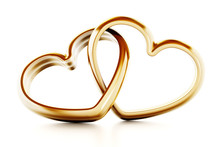 Gold Heart Shaped Rings Attach...