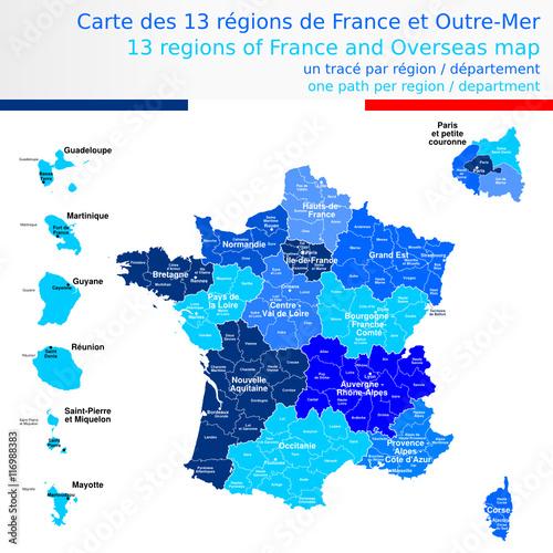 Carte des 13 régions de France et outre-mer bleue avec le nom des régions, des départements et ...