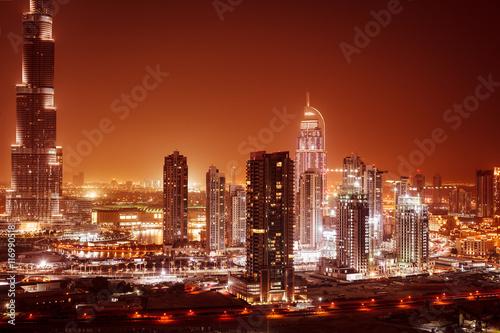 Dubai city at night Canvas Print