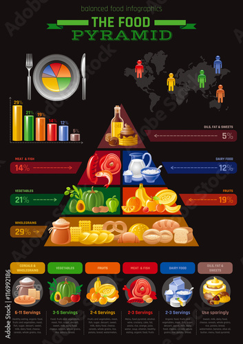vector illustration of food pyramid infographics with abstract