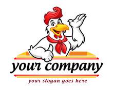 Chicken Logo, Chicken Mascot, Chicken Character. Suitable For Restaurant Logo. Vector Of Chicken Character.