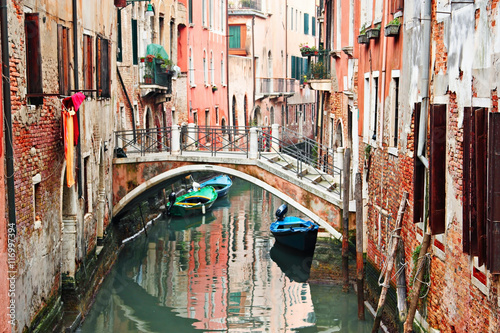Beautiful narrow canal in Venice, Italy Canvas Print