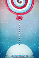 Greeting card or poster with festive Christmas candy