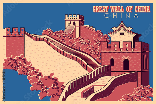 Fotografia, Obraz Vintage poster of Great Wall in China