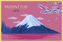 Vintage Poster Of Mount Fuji In Tokyo, Japan