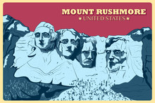 Vintage Poster Of Mount Rushmore Famous Monument In United States