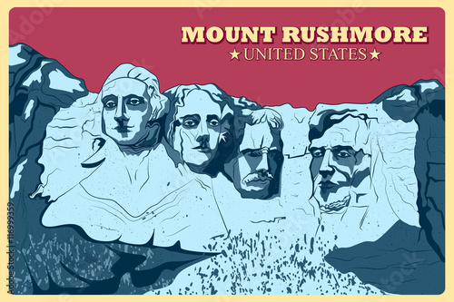 Fotografia  Vintage poster of Mount Rushmore famous monument in United States