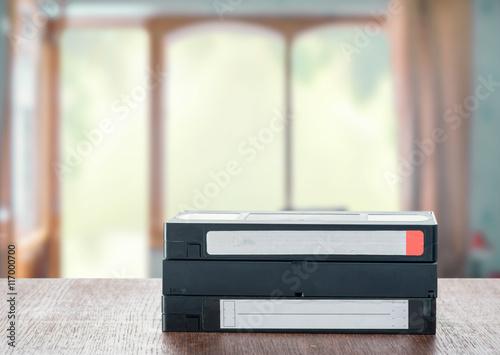 Fotografia, Obraz  VHS cassettes on the table