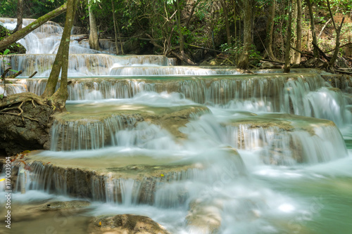 Poster Taupe Beautiful and very nice waterfall for relaxation, Erawan waterfall loacated Kanjanaburi Province , Thailand