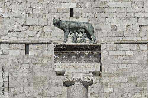 Fotografia, Obraz  Column with capitoline Wolf statue, legend of Rome