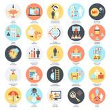 Flat conceptual icons set of corporate development