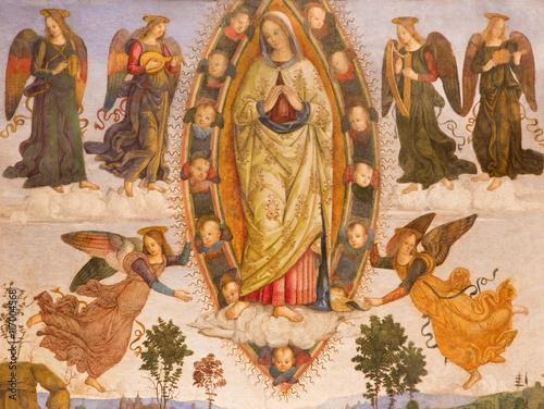 ROME, ITALY - MARCH 9, 2016: The fresco Assumption of Virgin Mary (detail) by helper of Aiuto del Pinturicchio (1489 - 1491) in Basso della Rovere chapel in church Basilica di Santa Maria del Popolo Canvas Print